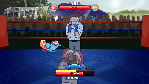 The player blocks an attack from Birdie Sanders in the Healthcare Beatdown event.